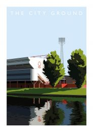 City Ground Stadium Illustration Art Poster - Nottingham Forest Football Club