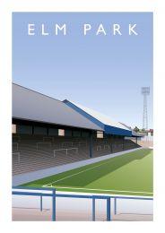 Elm Park Stadium Illustrated Art Poster - Reading Football Club