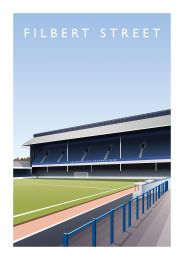 Filbert Street Stadium 'Double Decker Stand' Illustrated Art Poster - Leicester City Football Club