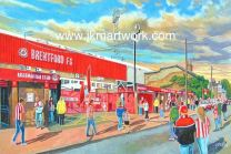Griffin Park Stadium 'Going to the Match' Fine Art Print - Brentford Football Club