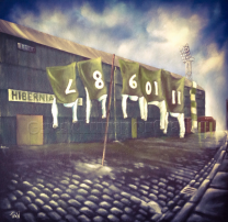 Easter Road Stadium 'Hibs Washing' Fine Art Box Canvas Print - Hibernian Football Club