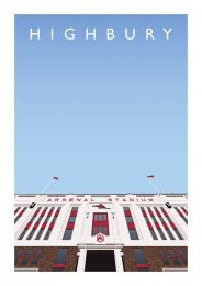 Highbury Stadium 'East Stand Entrance' Art Illustration Poster - Arsenal Football Club