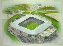 Madejski Stadia Fine Art Original Watercolour Painting - Reading Football Club