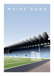 Maine Road Stadium Art Illustration Poster - Manchester City Football Club