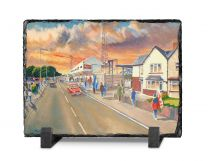 Ninian Park Stadium 'Going to the Match' Fine Art Slate Presentation - Cardiff City Football Club