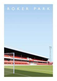 Roker Park Stadium Art Illustration Poster - AFC Sunderland