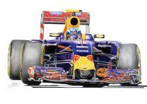 Max Vestappen in Red Bull Formula One Motor Racing Car Fine Art Print