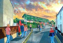 St James' Park Stadium 'Going to the Match' Fine Art Print - Exeter City Football Club