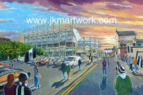St James' Park Stadium 'Going to the Match' Fine Art Print  - Newcastle United Football Club