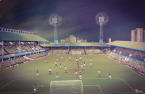 Upton Park Stadium Fine Art Box Canvas Print 'v Manchester United 1976' - West Ham United Football Club
