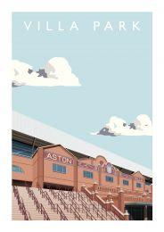 Villa Park Stadium 'Holte End Steps' Art Illustration Poster - Aston Villa Football Club