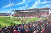 Bescot Stadium Fine Art Box Canvas Print 'League 2 Champions' - Walsall Football Club