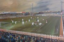 Bootham Crescent Stadium Fine Art Box Canvas Print 'v Aston Villa 1974' - York City Football Club
